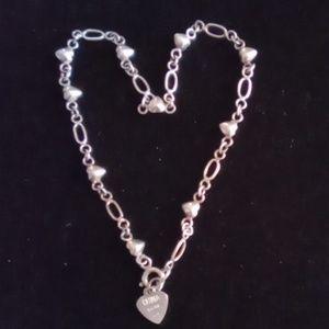 Vtg 925 Sterling Silver Heart & Link Bracelet.